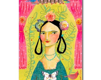 Gypsy Woman BOHO Portrait painting ORIGINAL mixed media collage paper and acrylic paint colorful art by Tascha
