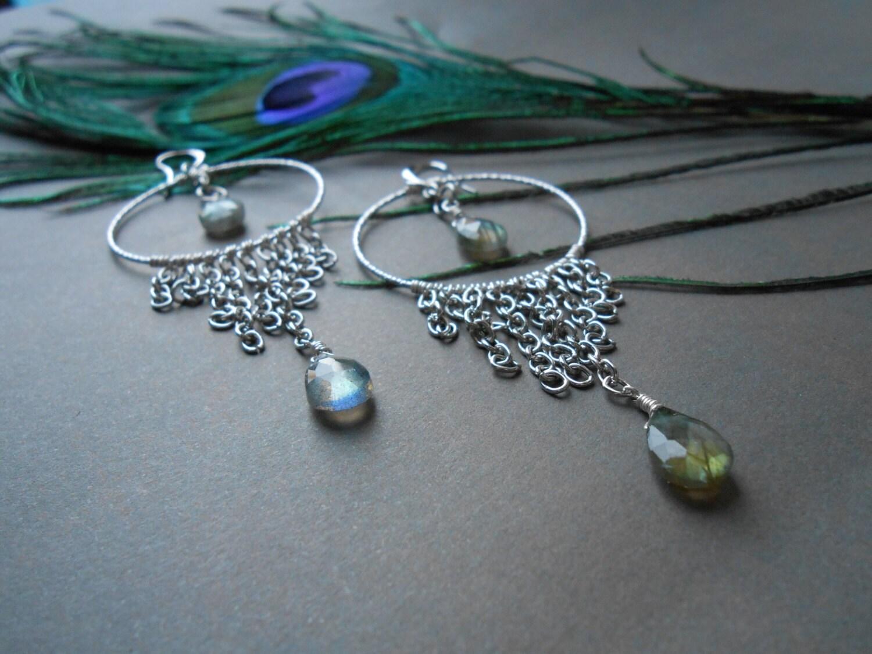 Labradorite Large Hoop Earrings Long Chandelier Gemstone Silver Fringes And Teardrop