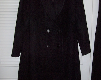 Coat 10, Wool Forecaster Maxi Long Tuxedo Style Black Double-Breasted Coat, FIVE STAR Vintage Wonderful All Wool Coat, - see details