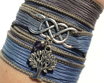 Infinity Silk Wrap Bracelet Life Wisdom Yoga Jewelry Tree of Life  Eternity Love Unique Gift For Her or Him Mothers Day Under 50 Item A44