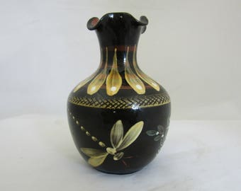 Studio pottery vase  Brown vase with yellow dragonfly Hand thrown and painted at Yeo Pottery by Bill Janes a former Fishley Holland potter
