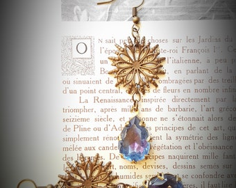 vintage lavendar blue givre glass earrings * LaVieBohemeJewels *