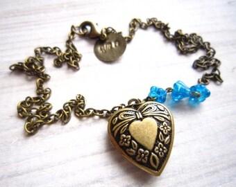 Kara Vintage Love Heart Locket in Sky Blue and Brass