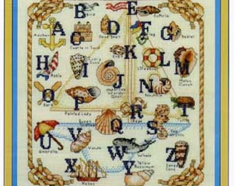 Nautical Sampler counted cross stitch Chart.  American Designer. Cross Stitch and Back Stitch. Alphabet Sampler. Shells, Boat, Seaside theme