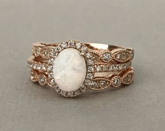 Art Deco Rose Gold Oval White Fire Opal Simulated Diamond Engagement Set  Sterling Silver 3PC Fancy Wedding Engagement Promise Band Ring Set