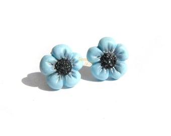 Blue Lobe flower Earrings (PIN) in Fimo