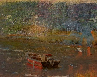 Photo Print - Cape Cod Fishing Boat Scene, Abstract Print, Peaceful Cape Cod Scene