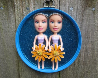 Hippie Chicks - upcycled wall plaque