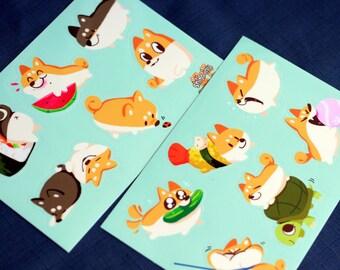 """4x6"""" Shiba Inu Sticker Sheets"""