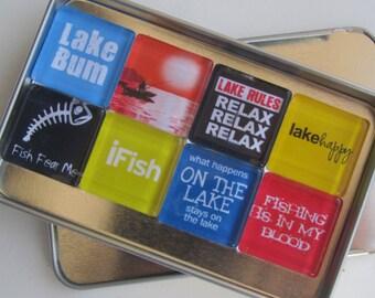 Fishing Refrigerator Magnets, Set of Fishing Theme Fridge Magnets in Storage Tin, FIshing Lover Gift