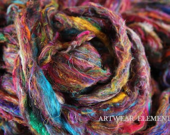 Gourmet Pulled Sari Silk Roving, Silver Top Roving, 5 Yards, Multicolored Pulled Silk, Spinning Fiber, Art Silk, Jewelry, Artwear Elements