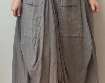 LAGENLOOK hippie, ethnic linen parachute skirt Boho 10-16uk