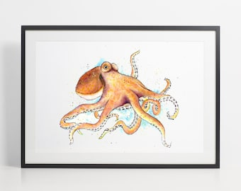 Watercolor Octopus Painting Print - Octopus art, animal watercolor, animal illustration, Octopus illustration, Octopus poster, art print