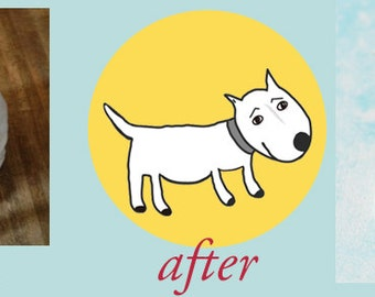Personalized Pet Jewelry   Cartoon Drawing of your Pet   Pet Necklace Ring or Earrings   Pet Memorial Keepsake