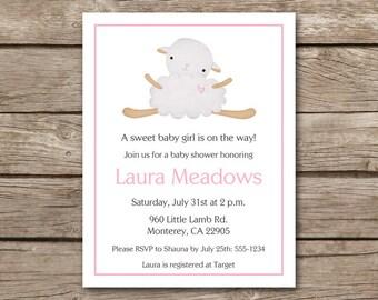 Lamb Shower Invitation, Lamb Baby Shower, Sheep Invitation, Sheep Baby Shower, Baby Lamb Invitation, PRINTABLE