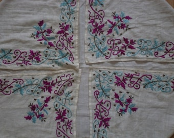 """free shipping  OTTOMAN  silk embroidered scarves  SİZE =  37"""" X 37"""" ( 92 cm X 92 cm)"""