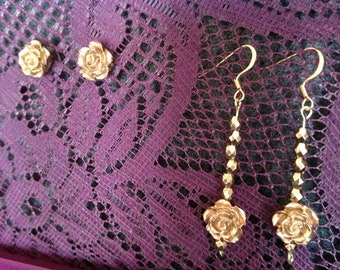 Gold and Rose earring set