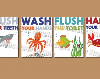 Cartoon Fish Signs for Kids Bathroom  - Instant Download - Four Printable - Wash Hands, Brush Teeth, Flush Toilet, Hang towel
