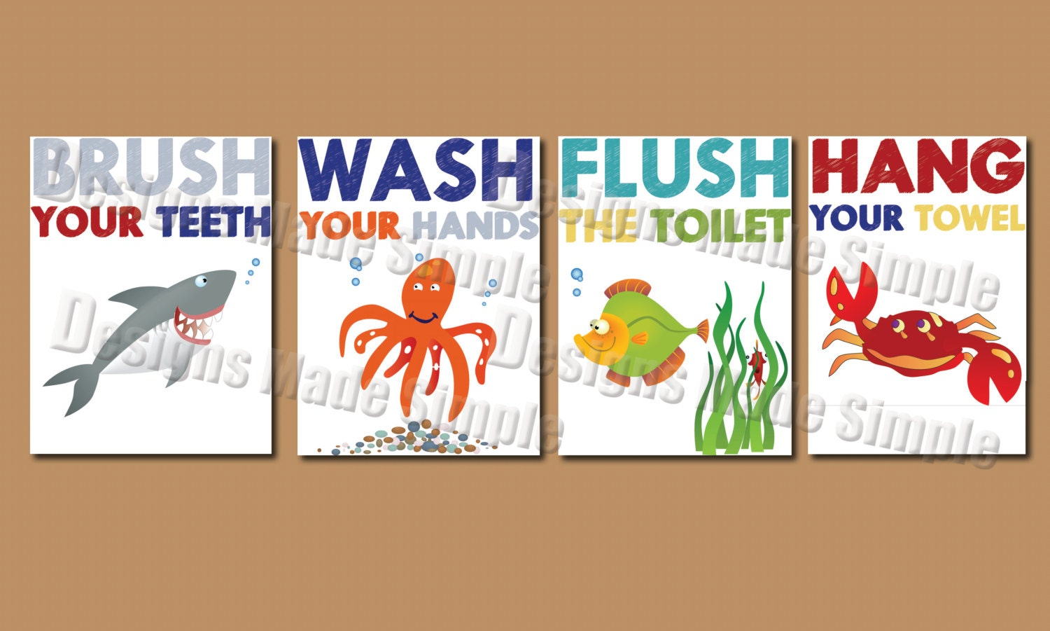 Cartoon Fish Signs For Kids Bathroom Instant Download