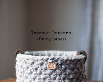 Crochet pattern // Textured basket with leather handles // Instant download