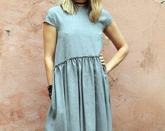 Grey romantic dress/ Oversized dress / Drop waist dress / Cotton dress / Handmade dress / Designer dress