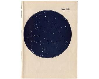 1948 SOUTH POLE STARS lithograph - mini constellation map - original vintage print - celestial astronomy - no. 30