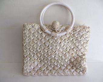 Vintage 50s 60s handbag purse, summer off white, straw basketweave woven raffia, Babette, Mothers Day gift