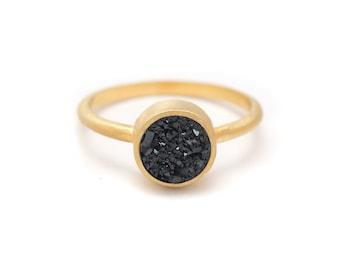 Black Druzy Quartz Ring - 18k Gold Vermeil - Bezel Set - Round - Available in sizes 4.5, 5, 5.5, 6, 6.5, 7, 7.5, 8, 8.5, 9, 9.5 and 10
