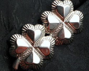 St Patrick's Day Irish Vintage Earrings Four Leaf Clover Lucky Mid Century Hearts Embossed Estate Silver Chic Clip Earrings 1950's Mad Men