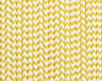 Bright Yellow and White Chevron Paper Straws