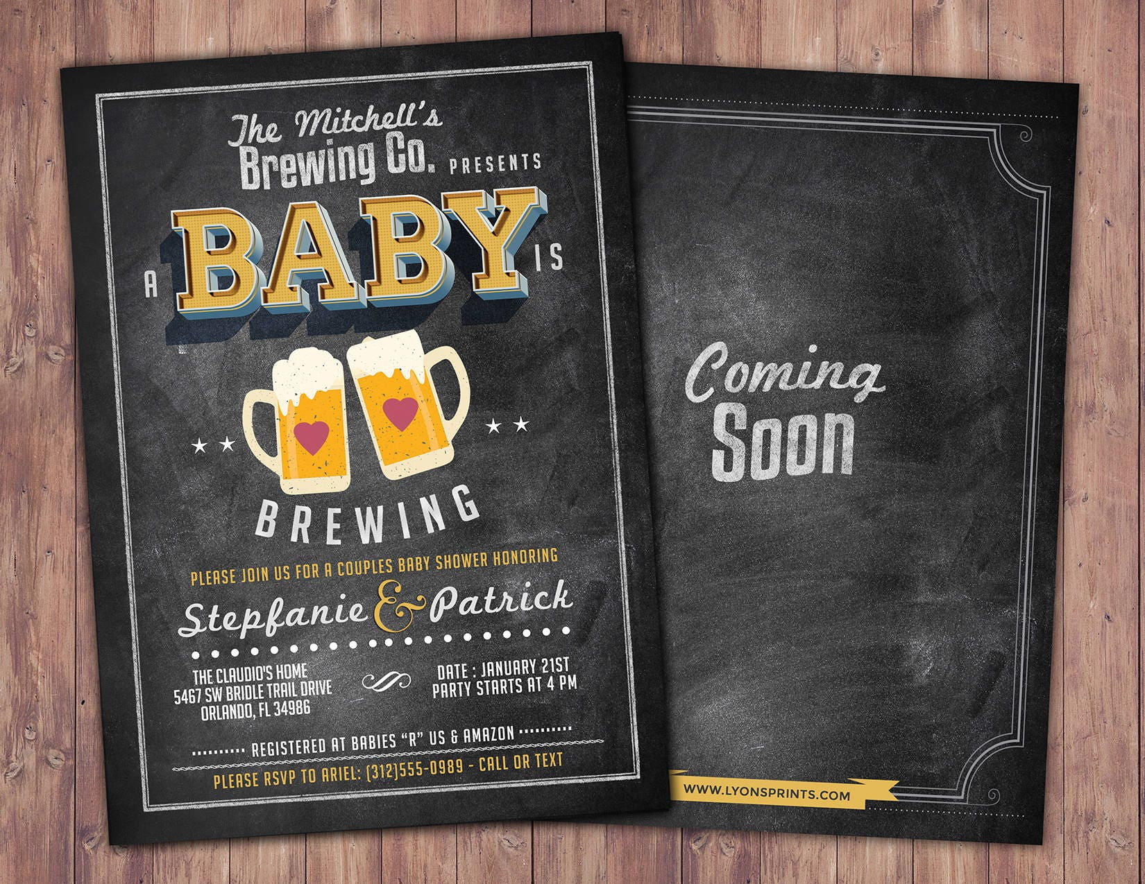 Baby is brewing, Coed baby shower invitation- Beer baby shower ...