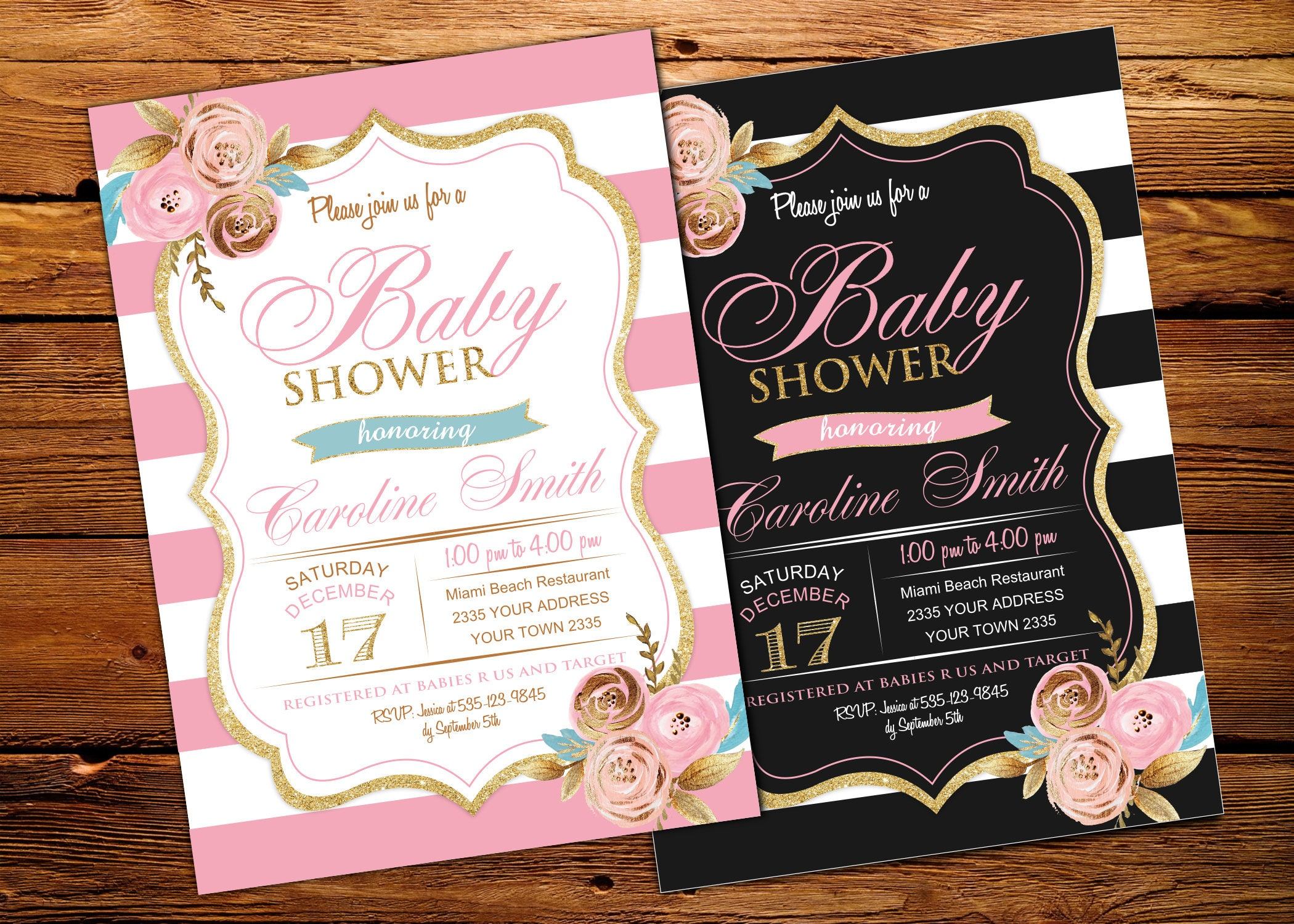 Baby Shower Invitations. Pink and Gold Baby Shower