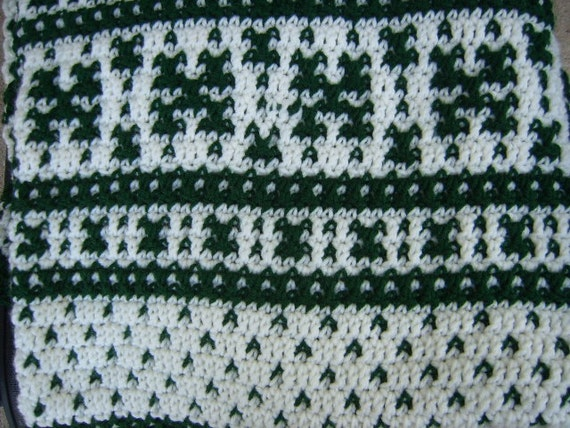 Fair Isle Crochet Afghan Blanket/Green and White