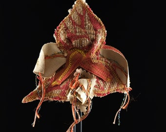 Orchid Goddess Headdress, Recycled Upholstery Embroidery Materials, Fascinators, Goddess Within, Burningman Headpiece