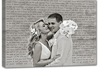 Anniversary Gift Wedding Gift First Dance Lyrics/ Custom Canvas / Your Wedding Photo with your Lyrics/ Vows/ Love Story