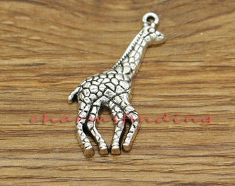 10pcs Giraffe Charms Animal Charms Antique Silver Tone 23x45mm cf3110
