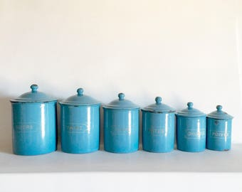 French Antique Enamel Canisters - French Kitchen Canisters - French Enamelware - Vintage Canister Set of 6 - Blue Enamelware