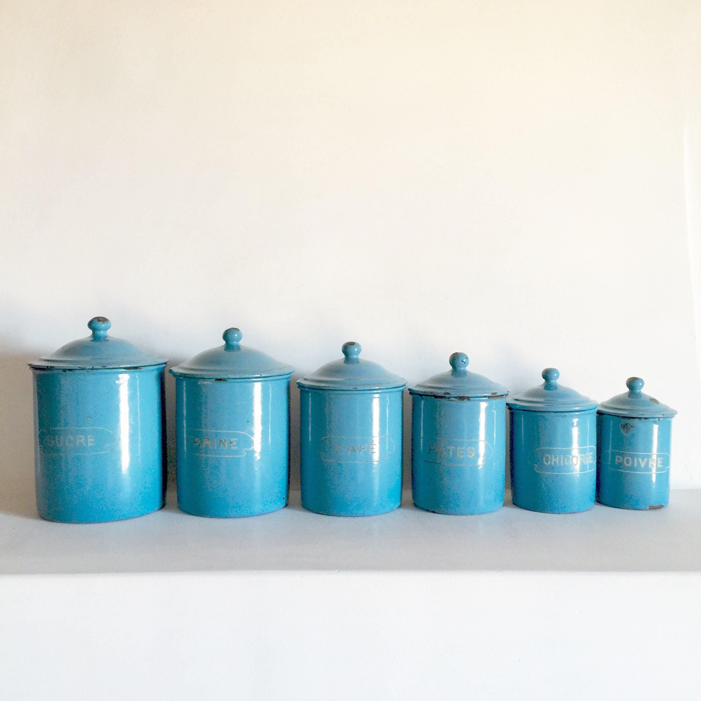 French Antique Enamel Canisters - French Kitchen Canisters - French ...