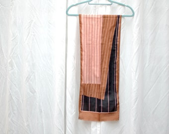 Monique Martin vintage pink, brown and black retro scarf 80s