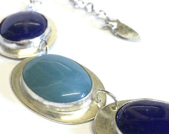Lapis Lazuli and Amazonite Stone Set Necklace