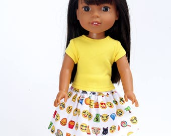 Fits like Wellie Wishers Doll Clothes - Yellow Trendy Tee and Emoji / Emoticon Skirt   14.5 Inch Doll Clothes