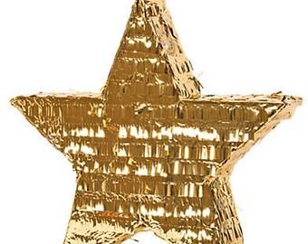 Foil Gold Star Wedding Piñata 18X17X3 inches