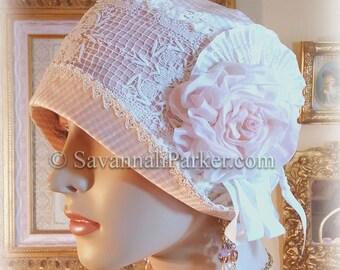 Antique Style 1920s Gatsby Flapper Downton Abbey Silk Summer Cloche - Ready to Ship - SMALL size - Ribbonwork Trim - Handmade Silk Flower