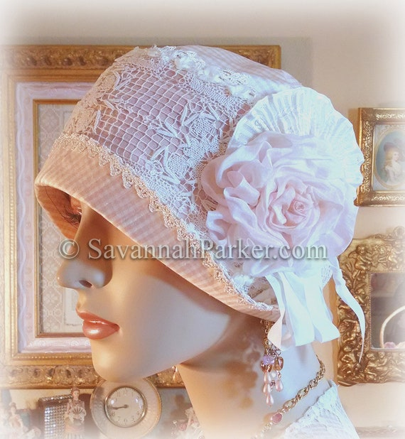 Antique Style 1920s Gatsby Flapper Downton Abbey Silk Summer Cloche - Ready to Ship - SMALL size - Ribbonwork Trim - Handmade Silk Flower