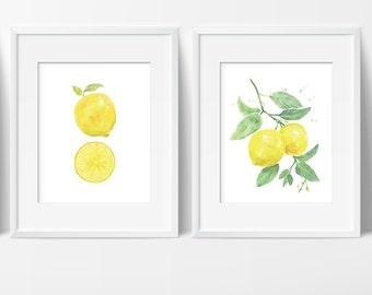 Watercolor Lemon Art Prints   Set Of 2 Prints   Yellow Kitchen Decor    Lemon Branch