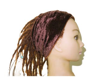 Bohemian brown velvet adult headband
