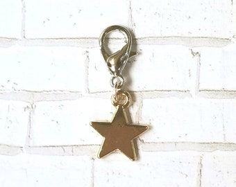 Golden Star Planner Charm - Journal Accessories - Traveler's Notebook Jewelry - Space - Galaxy - Universe - Alien - Celestial - Astrology