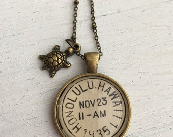 Postmark pendant necklace