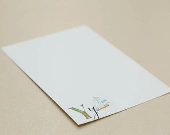 Personalised Letter Stationery - Y is for Yacht