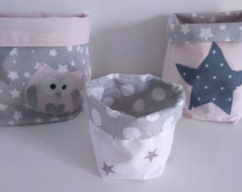 ON order/time 5 days-set 3 bags pink light grey/powder, Star, polka dots (3 x)
